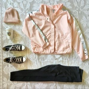 Forever 21 peachy pink holographic windbreaker S